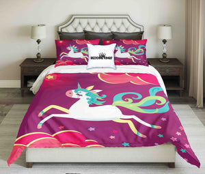 White Unicorn On Purple Background Design Bedding Set | beddingkings