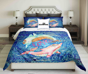 Watercolor Pair Of Lovely Dolphins Surrounded By Doodle Wave Design Bedding Set | beddingkings