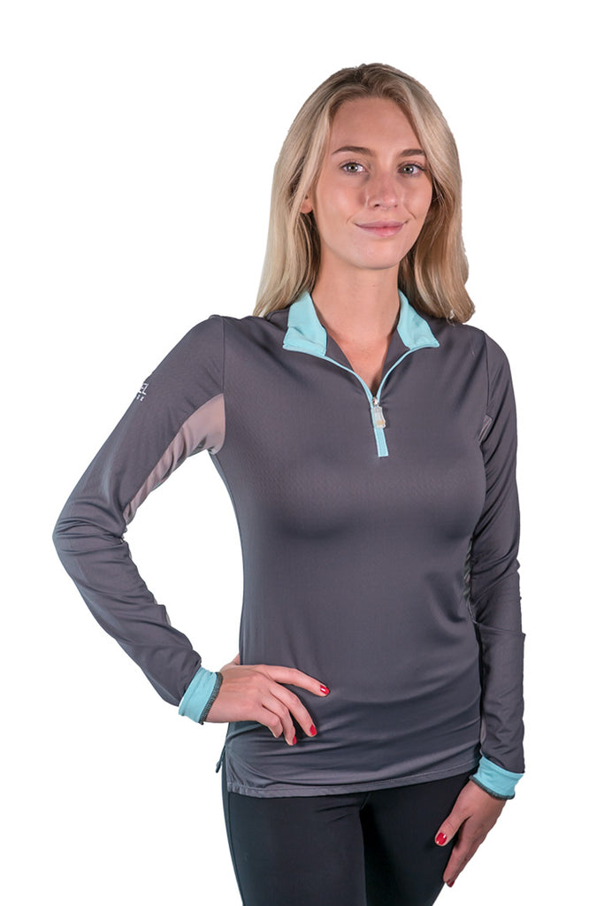 Kastel Charlotte Technical Long Sleeve - Asphalt with Turquoise Trim