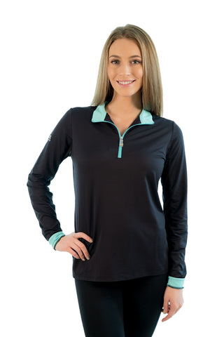 Kastel Charlotte Technical Long Sleeve - Black with Turquoise Trim