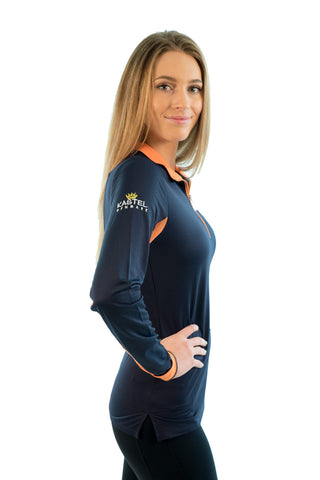 Kastel Charlotte Technical Long Sleeve - Navy with Orange Trim