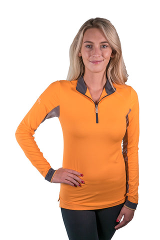 Kastel Charlotte Technical Long Sleeve - Orange with Asphalt Trim