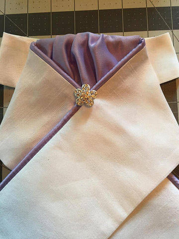 White Stock Tie with Lavender Accents