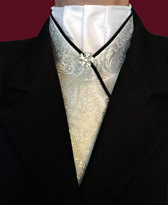 Silver Brocade Stock Tie with Black Piping