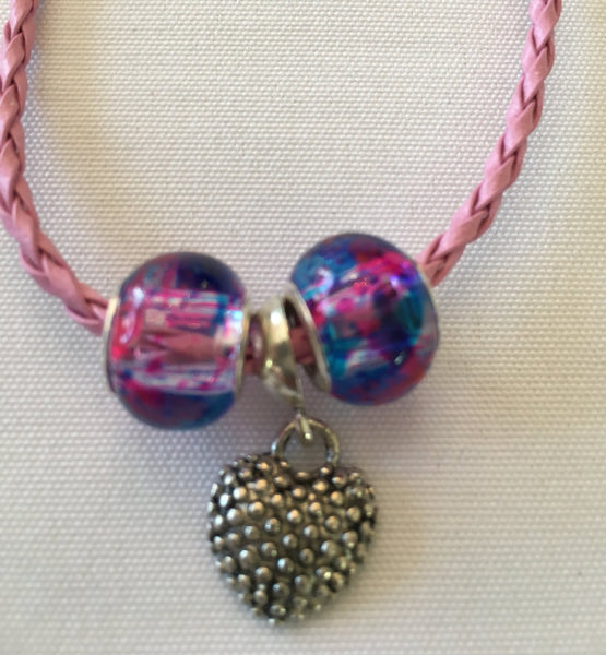 Pink Heart Bracelet with Silver Colored Heart Charm