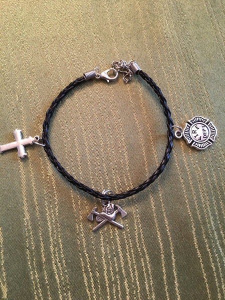 Firefighters Black Leather Bracelet with 3 Silver Colored Charms Unisex