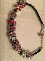Black Braided Leather Bracelet with Red Rhinestone Charms for Valentine's Day