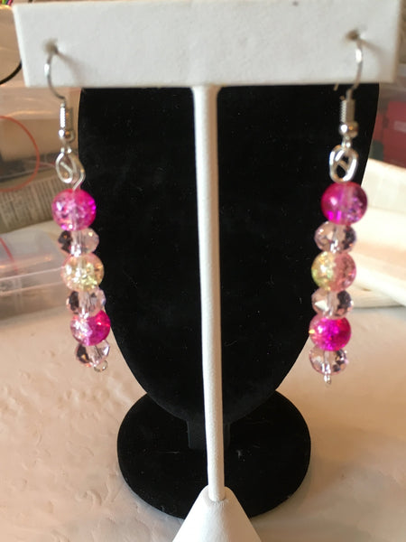 Dangling Earrings Made With Pink & Clear Glass Beads that Hang 2 inches long