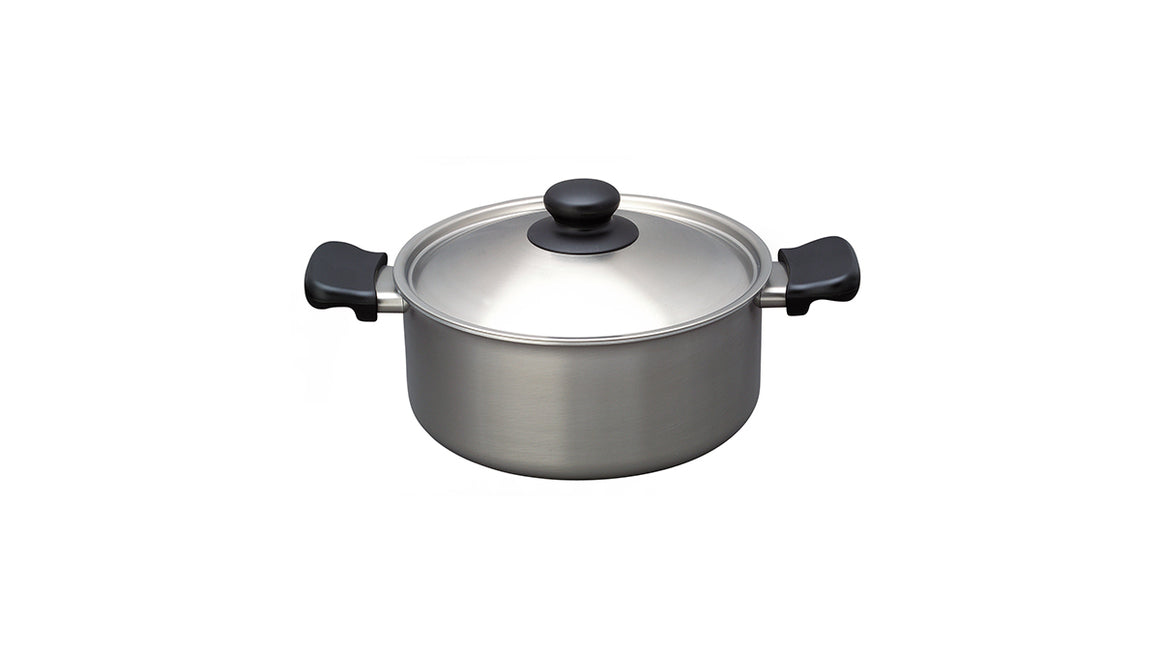 Sori Yanagi Stainless Shallow Pot - Matte Finish - Made in Japan - Light and durable stainless steel pot - Dishwasher safe