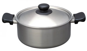Sori Yanagi Stainless Aluminum 3 Layer Shallow Pot - Matte Finish - Dishwasher safe - Made in Japan - 18-8 stainless steel for corrosion resistance - Aluminum for heat conductivity