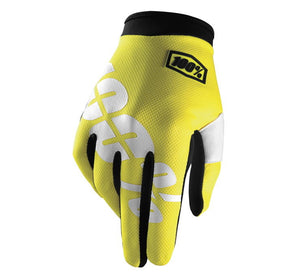 100% Youth iTrack Gloves; Neon Yellow; YS