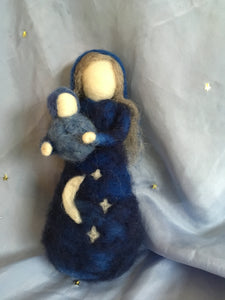 Mother Night and Baby Felted Table Puppet Set