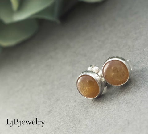 Golden Moonstone Silver Stud Earrings