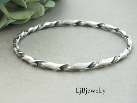 Sterling Silver Coiled Bangle