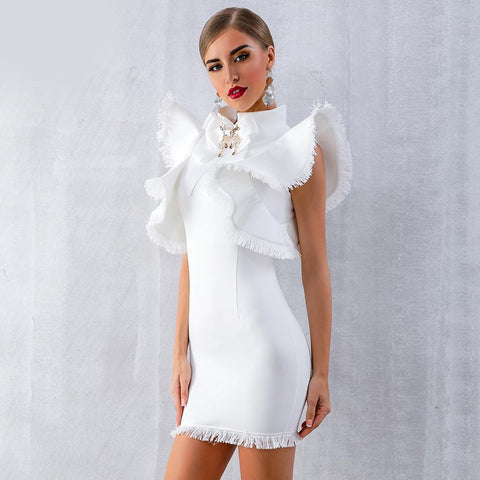 Image of Carolina Halter Tassel Sleeves Party Dress