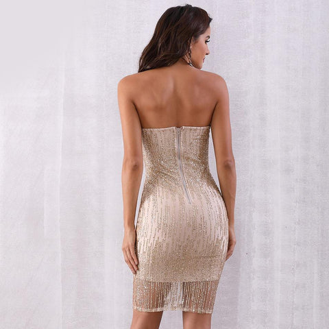 Image of Cecilia Sequin Strapless Party Dress