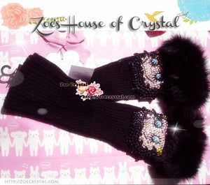 WINTER Black Wool ARM WARMERS with Betty Boop