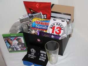 FIFA19 Edition Man-Cave Box to celebrate the release of the brand new Fifa19 game on xbox and playstation hand delivered to your mans workplace or home by the Romance Engineers Ireland premium proposal planners and Romance Specialists