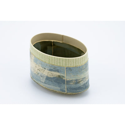 Small Oval Vessel (SO69) | Green Stripe | handbuilt ceramic created by Emily-Kriste Wilcox, available from Padstow Gallery, Cornwall