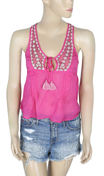 Free People Embellished Pink Blouse Top XS