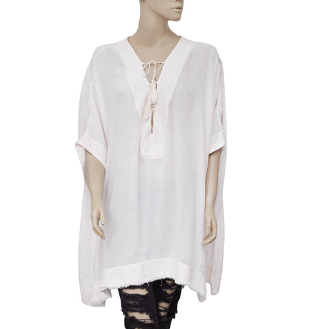 Out From Under Lola Beach Laceup Kimono Caftan Cover Up Tunic Top L