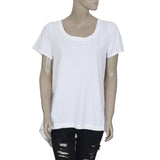New Postmark 9-H15 Stcl Anthropologie High Low White Cotton Blouse Top L