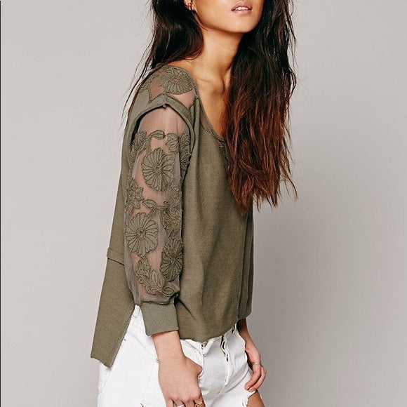 Free People FP New Romantics Tropicali Tee Blouse Top S