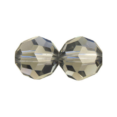 Czech Fire Polish Glass - 6 mm Round - Black Diamond - Sold per 7