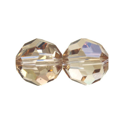 Czech Fire Polish Glass - 4 mm Round - Crystal Honey - Sold per 7