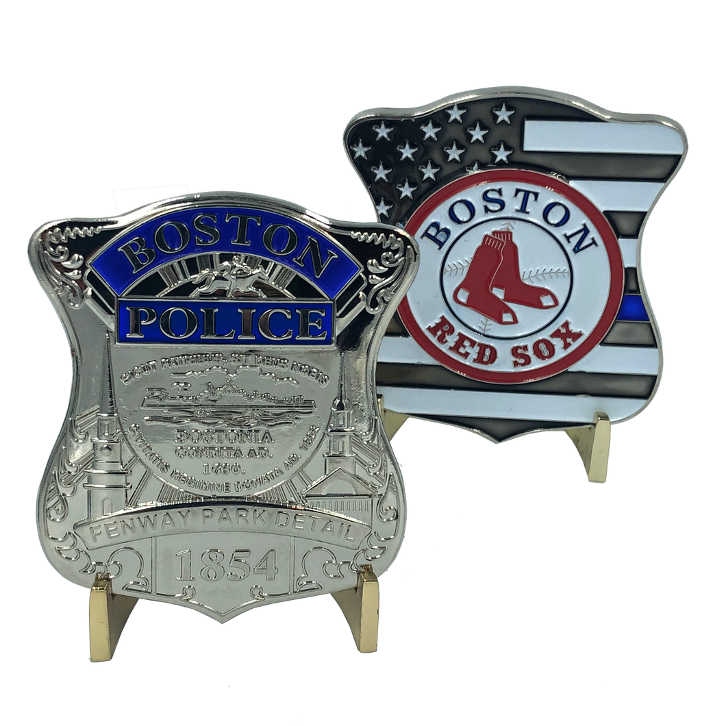 SILVER Boston Police Red Sox Fenway Park Detail Challenge Coin Thin Blue Line