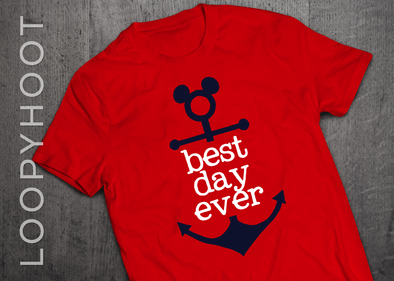 Best Day Ever Mouse Anchor Cruise Shirt in Red