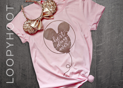 Best Day Ever Balloon Shirt in Pink and Rose Gold