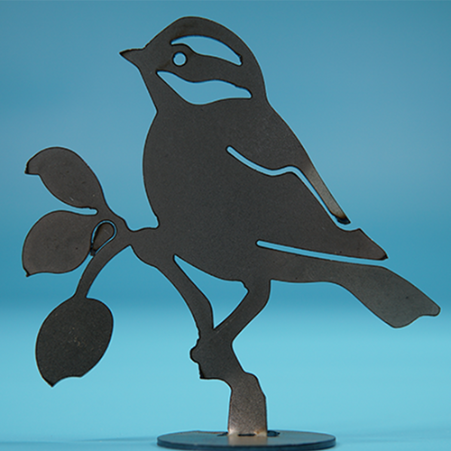 W4430 Black-Capped Chickadee -  Rust & Raw Steel