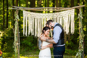Lovely Yarn Macrame Altar Hanging for Rustic Outdoor Wedding Ceremony Decor - The House Phoenix