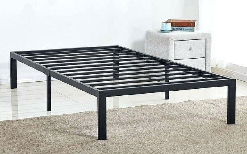 Platform Metal Bed with Wood Panels - Distressed Grey