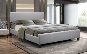 Platform Bed Bonded Leather with Adjustable Height - Grey
