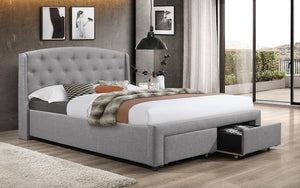 Platform Bed with Button-Tufted Fabric and 2 Pullout Drawers - Grey