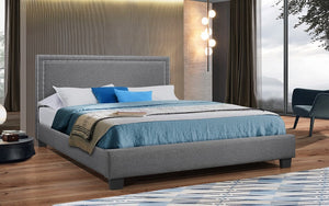Platform Bed with Linen Style Fabric and Nail-Head Trim - Grey