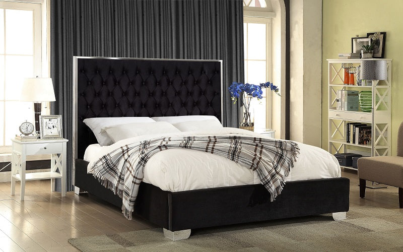 Platform Bed with Velvet Fabric and Chrome Legs - Blue