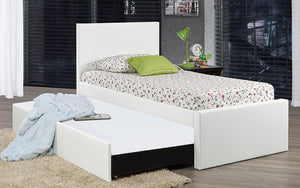 Leather Platform Bed with Storage and Twin Trundle - White