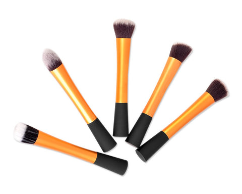 5 Pcs Foundation Makeup Brush Set - Gold
