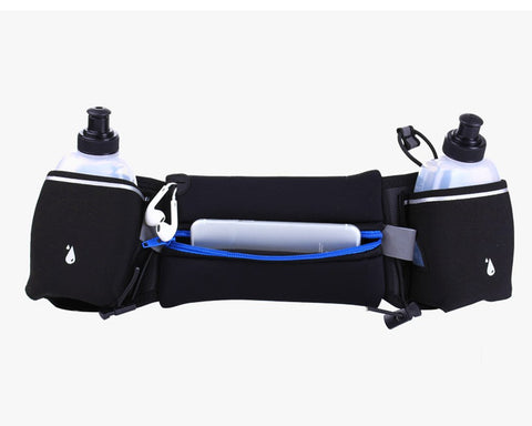 Hydration Belt with 2 Pockets for Water Bottles