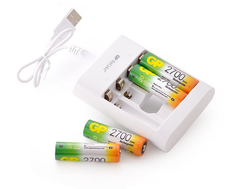 GP NiMH 2700 mAh AA Rechargeable Batteries with Free USB Charger