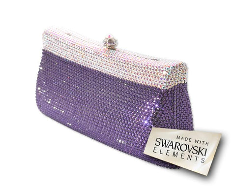 Elegant Handcraft Swarovski Crystal Clutch Bag - Purple 17cm