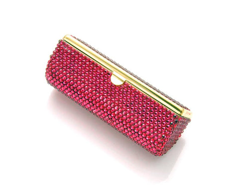 Classic Bling Swarovski Crystal Lipstick Case With Mirror - Magenta