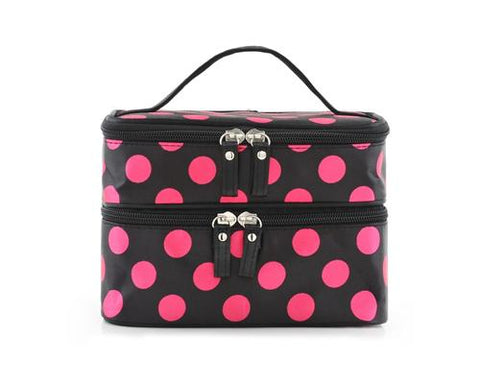 Double Layer Dots Pattern Makeup Bag with Mirror - Pink Dots