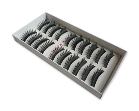 10 Pairs Reusable Long Black Thick False Eyelashes - Black