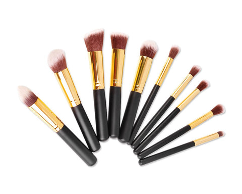 10 Pcs Professional Makeup Brush Set - Black