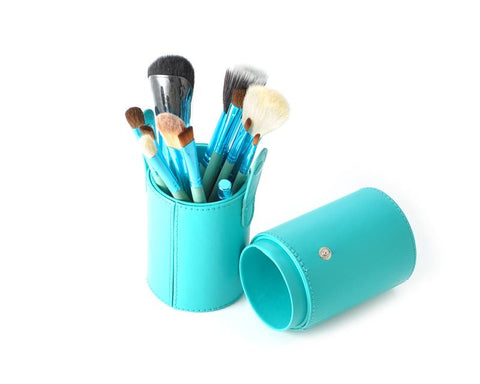 12 Pcs Professional Makeup Brush Set with Cup Holder - Mint