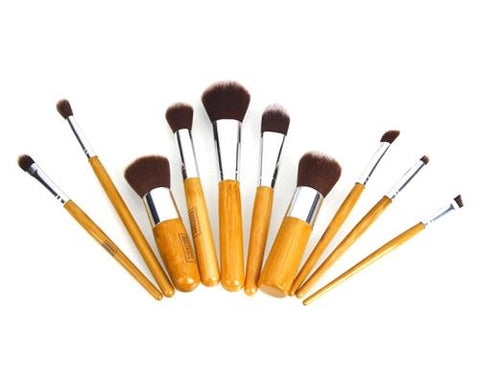 10 Pcs Professional Bamboo Makeup Brush Set - Brown